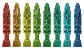 五颜六色的木雕象 库存图片