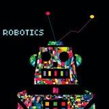 五颜六色的机器人战士靠机械装置维持生命的人 传染媒介EPS 10 库存图片