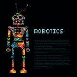 五颜六色的机器人战士靠机械装置维持生命的人 传染媒介EPS 10 免版税库存图片