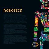 五颜六色的机器人战士靠机械装置维持生命的人 传染媒介EPS 10 库存照片