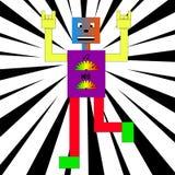 五颜六色的机器人跳舞。 向量例证