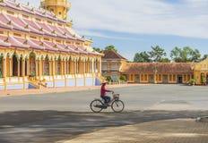 五颜六色的材料, Cao戴教廷寺庙,西宁省,越南 免版税图库摄影