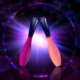 五颜六色的构成化妆嘴唇光泽的优质收藏 皇族释放例证