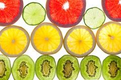 五颜六色的柑桔的混合在白色的 库存图片