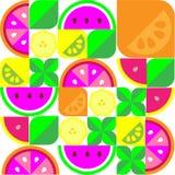 五颜六色的柠檬香蕉葡萄柚橙色果子背景 向量例证