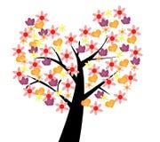 五颜六色的树,爱的标志 免版税库存图片