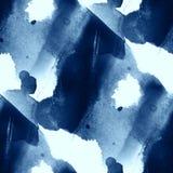 五颜六色的样式水海挥动蓝色抽象水彩艺术油漆无缝的纹理手画背景 免版税库存照片