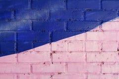 五颜六色的桃红色和蓝色被绘的砖墙 免版税库存照片
