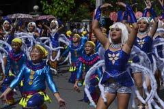五颜六色的椰子服装的人们参加了街道跳舞 图库摄影