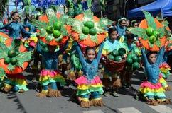 五颜六色的椰子服装的人们参加了街道跳舞 免版税库存照片
