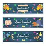 五颜六色的模板设计垂直的学校电视节目预告提议卡片 免版税库存图片