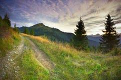 五颜六色的横向山夏天日落 库存图片