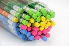 五颜六色的橡皮擦在铅笔结束时 库存照片