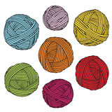 五颜六色的毛线球 羊毛丝球 皇族释放例证