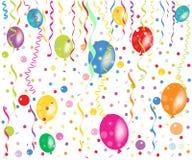 五颜六色的气球、五彩纸屑和丝带传染媒介 库存照片