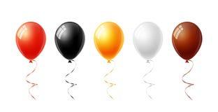 五颜六色的气球在万圣夜在白色背景设置了隔绝了 向量例证
