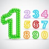 五颜六色的气球数字集合 免版税图库摄影