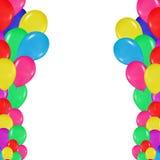 五颜六色的气球框架仿照现实主义样式的 设计卡片,生日,婚礼,节日,假日,邀请 免版税库存图片