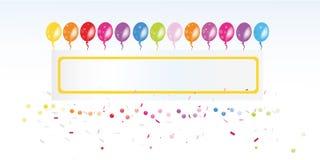 五颜六色的气球横幅和五彩纸屑传染媒介 免版税库存照片