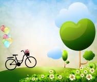五颜六色的气球自行车 免版税库存照片
