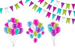 五颜六色的氦气气球 免版税库存图片