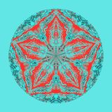 五颜六色的水彩坛场 东方葡萄酒圆的样式 抽象背景被画的现有量 神秘的无背长椅主题 库存照片