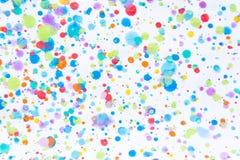 五颜六色的水彩绘画飞溅 污点,被弄脏的斑点 使用t 免版税库存图片