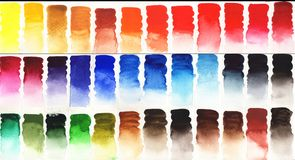 五颜六色的水彩调色板背景 库存照片