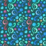 五颜六色的水彩音乐注意在黑暗的背景的无缝的样式 免版税库存图片