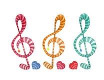 五颜六色的水彩音乐笔记设置了在白色背景的高音谱号 库存图片
