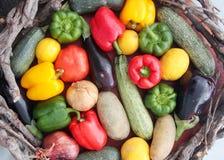 五颜六色的水果和蔬菜篮子  免版税库存照片