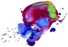 五颜六色的污点水彩 免版税库存图片