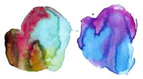 五颜六色的污点水彩 库存照片