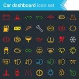 五颜六色的汽车仪表板接口和显示象设置-为维护传染媒介标志服务 库存照片