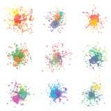 五颜六色的油漆在白色飞溅 正EPS10 免版税库存照片