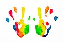 五颜六色的油漆手印刷品 库存照片