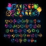 五颜六色的油漆泼溅物字母表 免版税库存照片