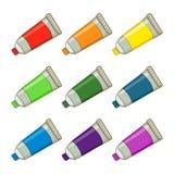 五颜六色的油漆管 免版税库存图片