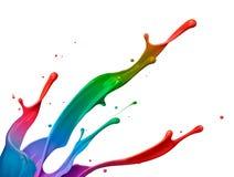 五颜六色的油漆飞溅 免版税库存照片