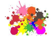 五颜六色的油漆|墨水飞溅|下落|传染媒介难看的东西背景 向量例证