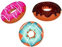 五颜六色的油炸圈饼被设置的传染媒介例证 免版税库存图片