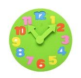 五颜六色的泡沫clockface,一个教育玩具 免版税库存照片