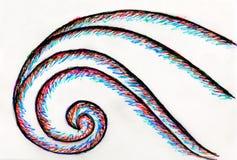 五颜六色的波形的一张手拉的图片 皇族释放例证