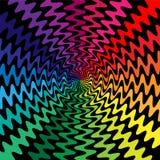 五颜六色的波浪线在中心相交 运动视觉幻觉  适用于纺织品,织品,包装和网de 库存照片