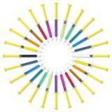 五颜六色的注射器圈子集合 免版税图库摄影