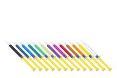 五颜六色的注射器掀动集合 免版税库存图片