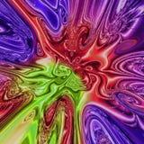 五颜六色的泪珠螺旋分数维,多色背景在紫色,紫罗兰色,红色,绿色,蓝色和黄色 免版税库存图片