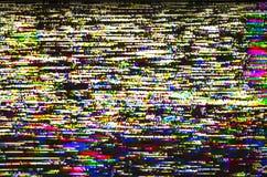 五颜六色的测试电视数字式小故障真正的屏幕  免版税图库摄影