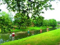 五颜六色的浮游物在河在夏天,立陶宛 免版税库存图片