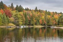 五颜六色的海岸线在与靠码头的汽艇的秋天-安大略, C 库存图片